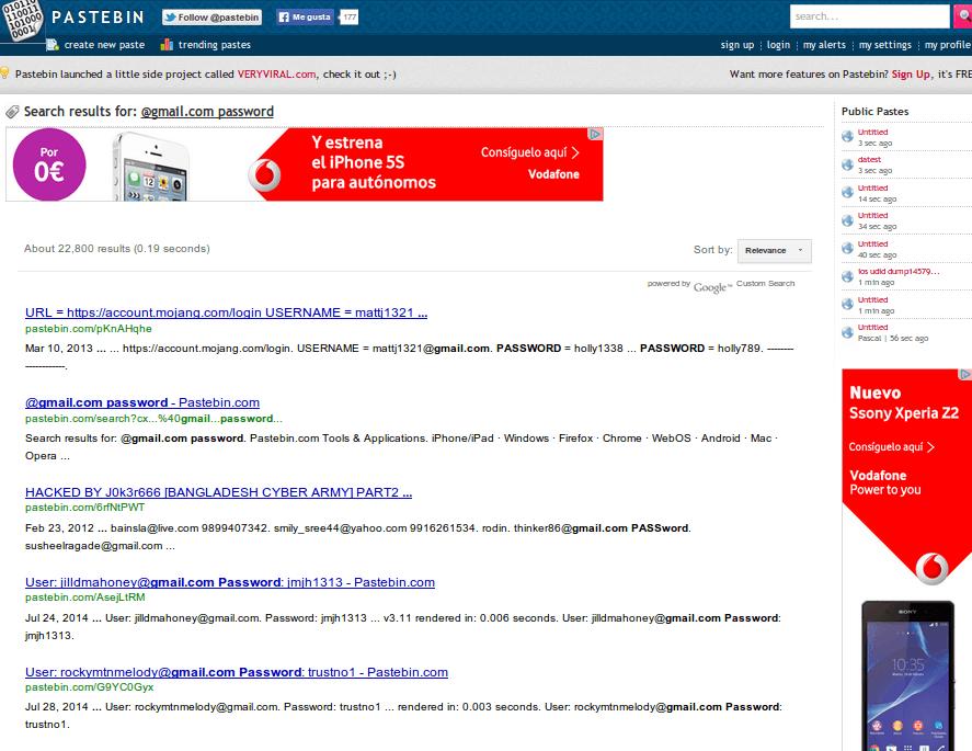 Otro sitio donde publican usuarios y contraseñas: Pastebin
