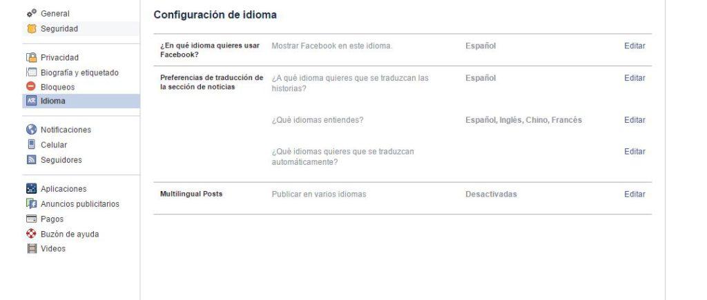 multilingual posts Facebook